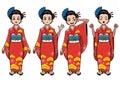 Traditional japan girl character set Royalty Free Stock Photo