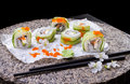 Traditional Japanese cuisine, sushi roll Royalty Free Stock Photo