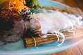 Traditional japanese food, Ika sushi on wooden table Royalty Free Stock Photo