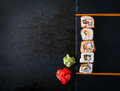Traditional Japanese food - rolls and futomaki. Royalty Free Stock Photo