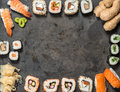 Traditional japanese food. Sushi rolls, nigiri, maki Royalty Free Stock Photo
