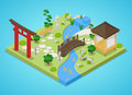 Traditional Japanese Garden with Bridge and Trees. Isometric flat 3d illustration