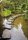 Traditional Japanese garden. A stream Royalty Free Stock Photo