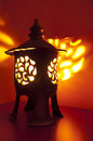 Traditional japanese lantern with candle inside Stock Images