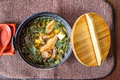 Traditional japanese miso soup in a black bowl Royalty Free Stock Photo