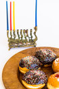 Traditional jewish menorah with candles colored Royalty Free Stock Photos