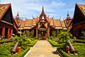 Traditional khmer artchitecture at cambodias natio a beautiful example of the symmetry in architecture national museum in phnom Stock Images