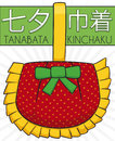 Traditional Kinchaku in Paper for Tanabata Festival, Vector Illustration Royalty Free Stock Photo