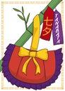 Traditional Kinchaku, Papers and Bamboo Branch for Japanese Tanabata Festival, Vector Illustration