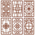 Traditional korean door and window ornament, chinese wall design, japan frames vector set Royalty Free Stock Photo