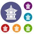 Traditional korean pagoda icons set