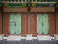 Traditional Korean style door at  Gyeongbokgung Palace Royalty Free Stock Photo