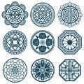 Traditional korean symbols, vector korea pattern design for bathroom repeat tiles