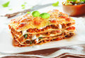 Traditional lasagna with bolognese sauce close up of a made minced beef topped basil leafs served on a white plate Stock Image