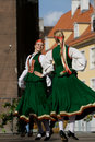 Traditional Latvian folk dancing Stock Images