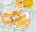 Traditional lemon bars on a white table Stock Image