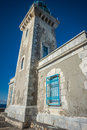Traditional lighthouse at the most southern point of greek mainland Royalty Free Stock Photo