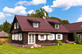 Traditional lithuanian house in trakai lithuania on a beautiful summer day Royalty Free Stock Photos