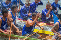 Traditional long boat racing at koa toa huahin thailand sep unidentified crew in thai boats compete during king cup race Royalty Free Stock Photos