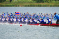 Traditional long boat racing koa toa huahin thailand sep unidentified crew in thai boats compete during kings cup race Royalty Free Stock Photos