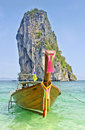 Traditional long tail boats, Andaman Sea, Thaila Stock Photo