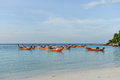 Traditional longtail boat in lipe island thailand Stock Photos