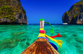 Traditional longtail boat in Maya bay,Phi Phi Leh Island,Thailand Royalty Free Stock Photo