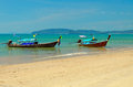 Traditional longtail boats on the Ao Nang beach Royalty Free Stock Images