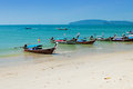 Traditional longtail boats on the ao nang beach krabi province thailand Stock Images