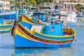 Traditional luzzu boat at marsaxlokk harbor in malta a fishing village located the south eastern part of Royalty Free Stock Photography