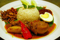 Traditional Malaysia Spicy Coconut Rice Nasi Lemak Stock Photography