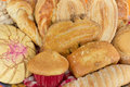 Traditional mexican sweet bread close up assorted basket Stock Images