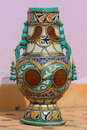 Traditional moroccan pottery vase decorated with ornaments Royalty Free Stock Images