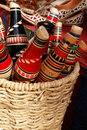 Traditional Mostar reedpipe flutes in basket Royalty Free Stock Image