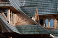 Traditional mountain style roof in zakopane Royalty Free Stock Photo