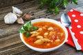 Traditional national Ukrainian beet soup borscht. Royalty Free Stock Photo