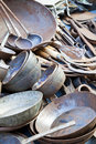 Traditional Nepalese Pots and Pans Royalty Free Stock Photos