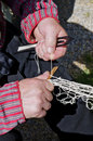 Traditional net making by fisherman dutch craftsmanship Royalty Free Stock Photography