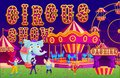 Traditional night circus show flat vector illustration Royalty Free Stock Photo