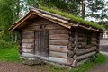 Traditional Norwegian House with grass roof. Royalty Free Stock Photo