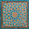 Traditional Old Islamic Design made of Brown Clay and Blue Tiles in Yazd Royalty Free Stock Photo