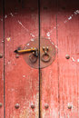Traditional old wooden door and handle knocker china Stock Image