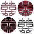 Traditional Oriental Korean symmetrical double happiness zen symbols in black, white and red with diamonds element fashion and tat Royalty Free Stock Photo