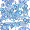 Traditional oriental seamless paisley pattern with watercolor stains. Vintage flowers seamless ornament in blue colors