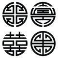 Traditional Oriental symmetrical zen symbols in black symbolizing longevity, wealth, double happiness