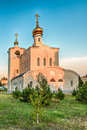 Traditional orthodox church in frunze small village in crimea the saky region of Stock Image