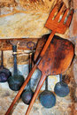 Traditional oven and cooking utensils Stock Photos