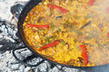 Traditional paella cooking Royalty Free Stock Image