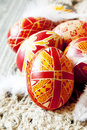 Traditional painted easter eggs with delicate feathers Royalty Free Stock Photos
