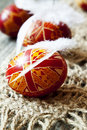 Traditional painted easter eggs with delicate feathers Stock Photo